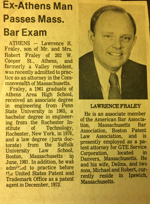 Newspaper (Sayre PA paper) Announcing My Passing MA bar.