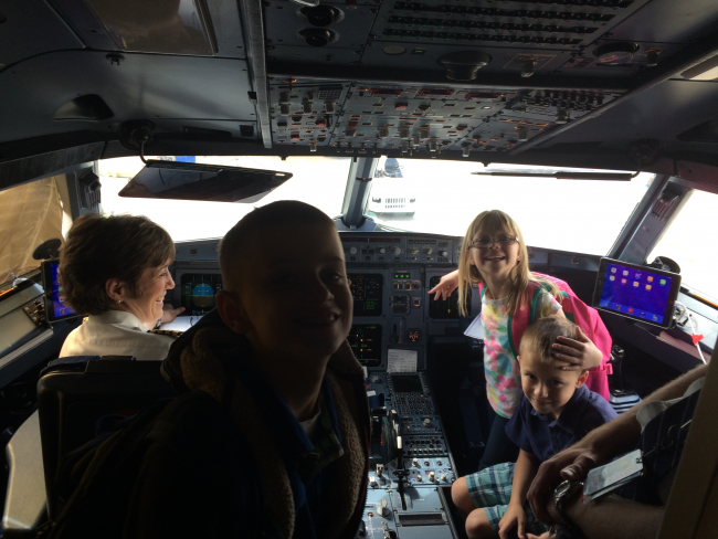 Three NJ Grandkids in the cockpit...