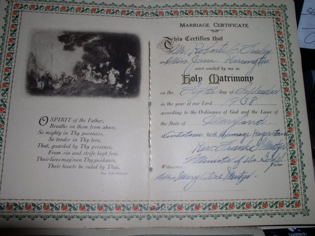 JANE, ROBT. FRALEY MARRIAGE CERT.
